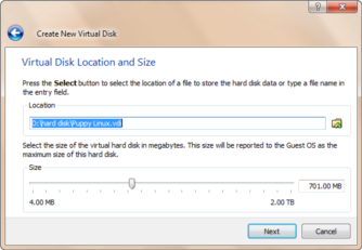 Virtual BOX - VHD set size and location